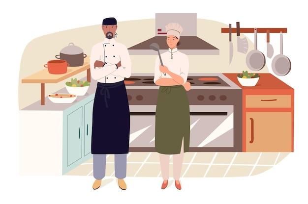부엌 웹 개념의 레스토랑 직원. 주방에서 요리하는 요리사와 조수, 케이터링 요리에서 요리 준비