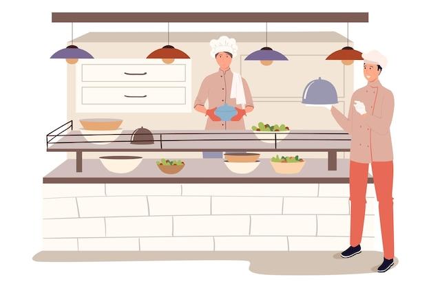 부엌 웹 개념의 레스토랑 직원. 요리사는 카운터에 준비된 식사를 배치하고 웨이터는 식당에서 고객에게 주문을 전달합니다.