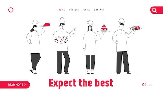 카페 메뉴 웹 사이트 랜딩 페이지를 보여주는 유니폼의 레스토랑 직원