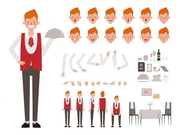 Restaurant staff man waitress character