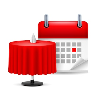 Restaurant table and calendar