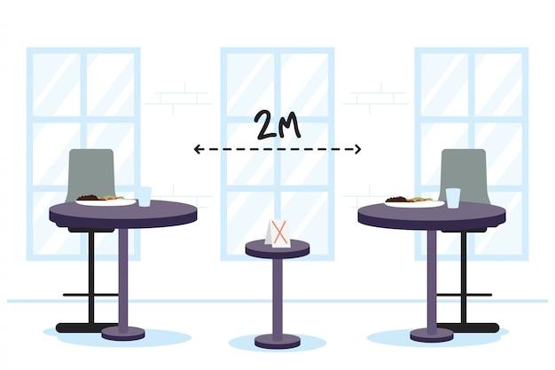Столы ресторана с дизайном иллюстрации вектора сцены расстояния социальным