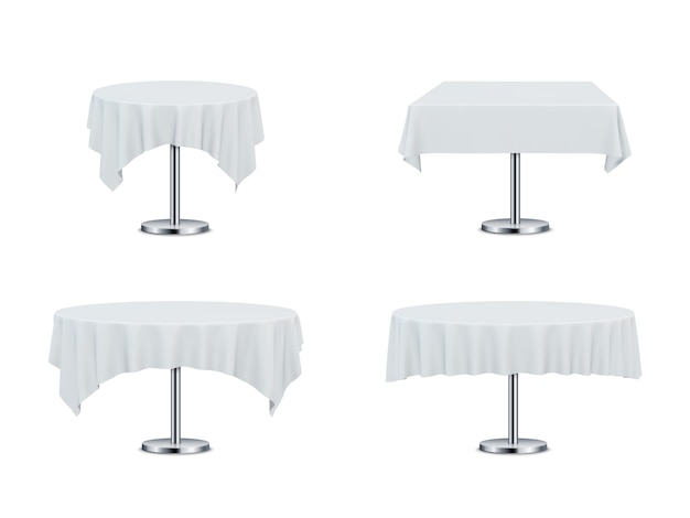 Restaurant tables with tablecloths.