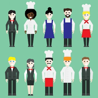 Restaurant team set vector.