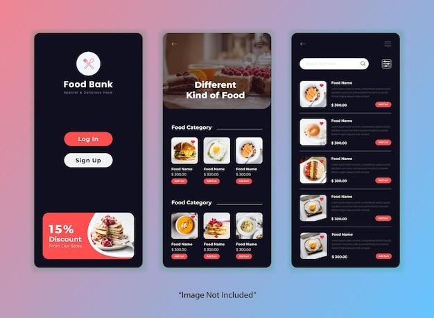Modello di app dell'interfaccia utente del ristorante