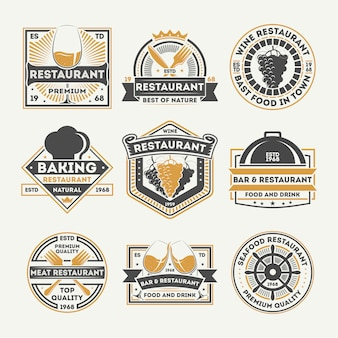Restaurant vintage isolated label set