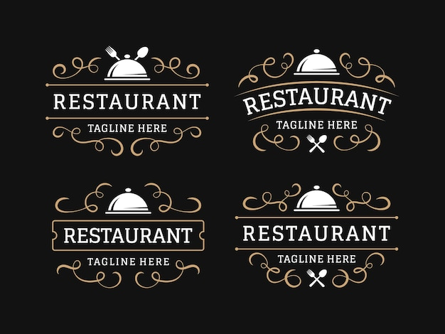 Restaurant vintage logo with flourish ornament Premium Vector