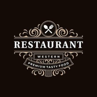 Restaurant vintage retro decorative western ornamental luxury logo