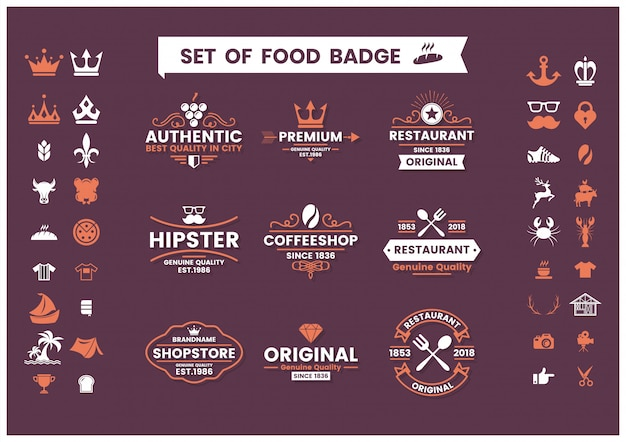 Restaurant vintage set of logos, food badges and icons