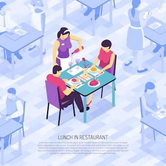 Restaurant waiter bottling wine in glasses during lunch of customers isometric