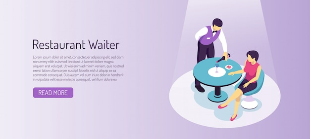 Restaurant waiter during service of visitor isometric horizontal banner on gradient