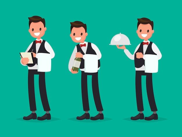 Официант ресторана принимает заказ, показывает бутылку вина, приносит блюдо. векторная иллюстрация в плоском стиле