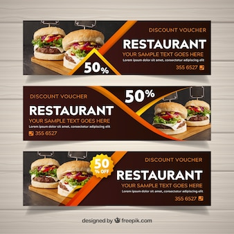 Restaurant web banner collection with photo