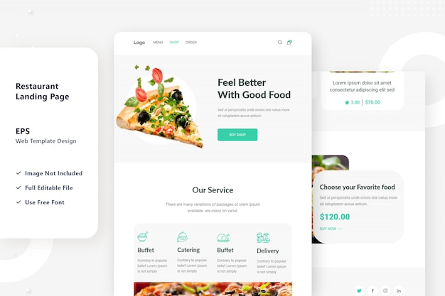 レストランのウェブランディングページのデザイン