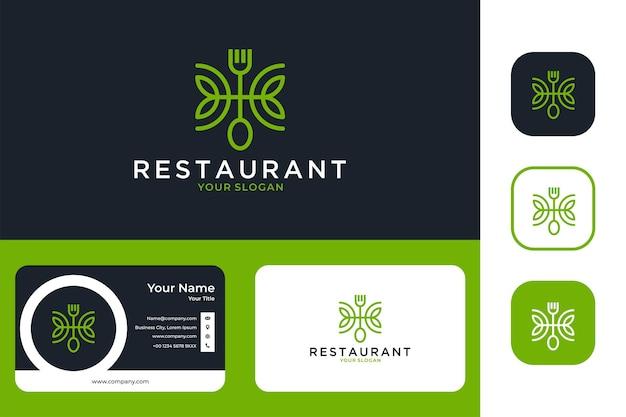 포크와 스푼 라인 아트 로고 디자인과 명함이 있는 레스토랑