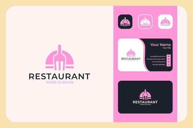 フォークのロゴデザインと名刺のあるレストラン