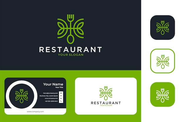Restaurant with fork and spoon line art logo design and business card