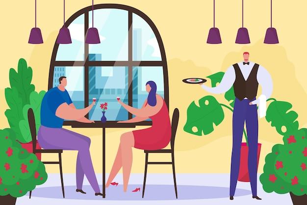 ロマンチックなデート、ベクトルイラストで愛のカップルとレストラン。フラットな人々の男性女性キャラクターはテーブルで夕食をとり、カフェウェイターは皿を保持します。男性女性は一緒にワインを飲みます。