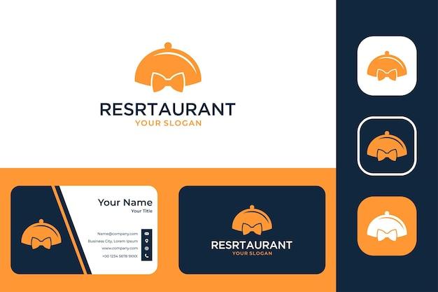 ネクタイのロゴデザインと名刺のあるレストラン