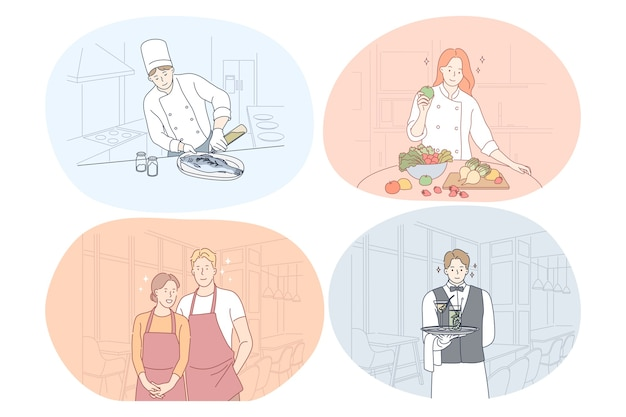 식당 노동자, 요리사, 요리사, 웨이터, 바리 스타 개념.