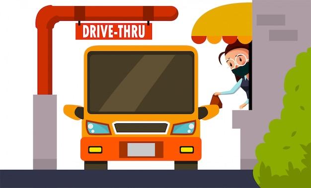 Restaurant worker service her customer on drive thru