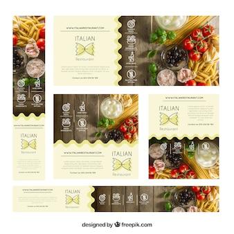Banner di ristoranti con fotografia di cibo