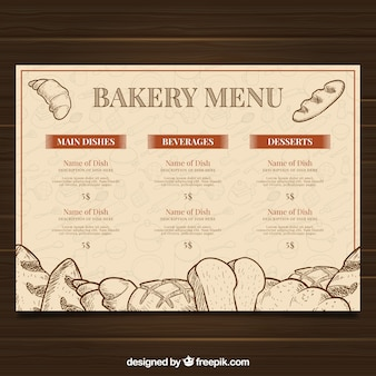 Restaurante menu template with bakery list