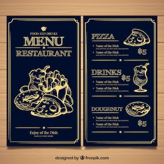 Restaurante menu template with different food