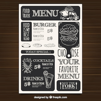 Restaurante menu template with fast food