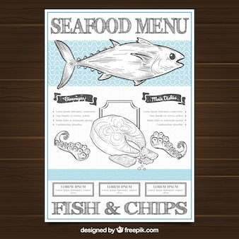 Restaurante menu template with seafood