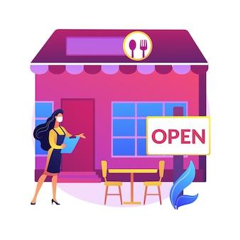 抽象概念図を再開するレストラン。パンデミックビジネスへの適応、屋外シーティングエリア、屋外ダイニング、テーブル間隔、社会的および物理的な距離