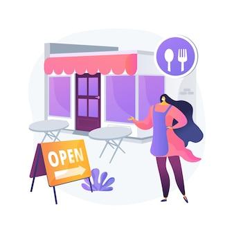 추상적 인 개념 그림을 다시 여는 레스토랑. 유행성 사업 적응, 야외 좌석 공간, 외부 식당, 테이블 간격, 사회적 및 신체적 거리