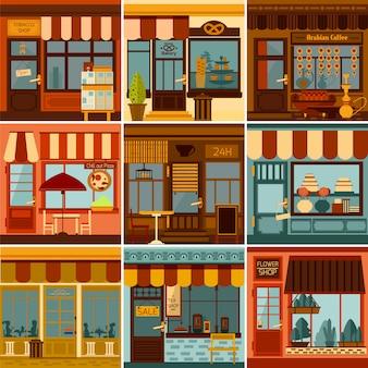 Restaurants shops caffees and market stores facades set