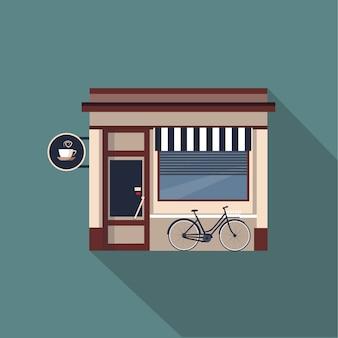 Restaurants and shops facade, storefront detailed flat