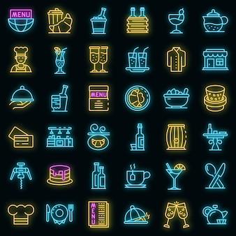 레스토랑 아이콘을 설정합니다. 블랙에 레스토랑 벡터 아이콘 네온 색상의 개요 세트