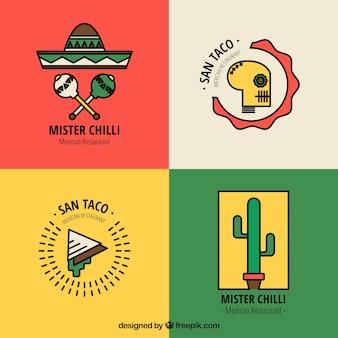 ・レストランロゴは、メキシコ料理のためのパック