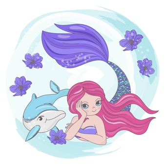 Resting mermaid dolphin sea cartoon