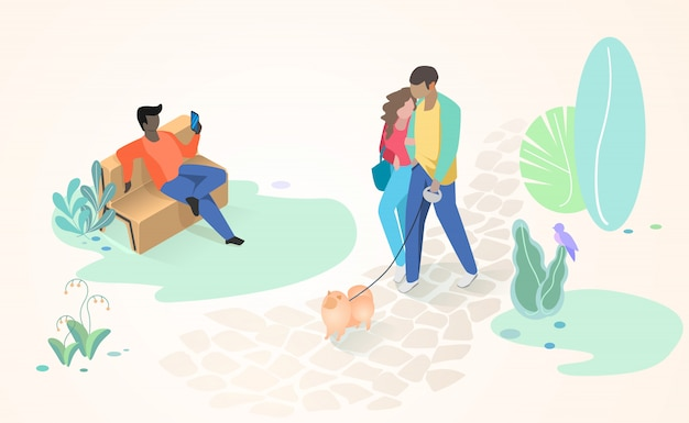 Resting people in city park flat vector concept