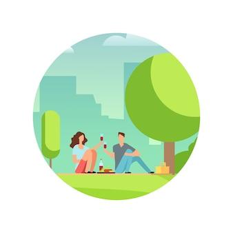 ピクニックで人々を休ませます。分離された漫画のベクトル文字。公園のイラストでデートの恋のカップル