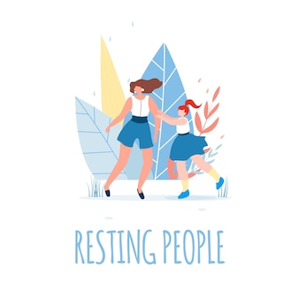 Resting people text and happy female characters.