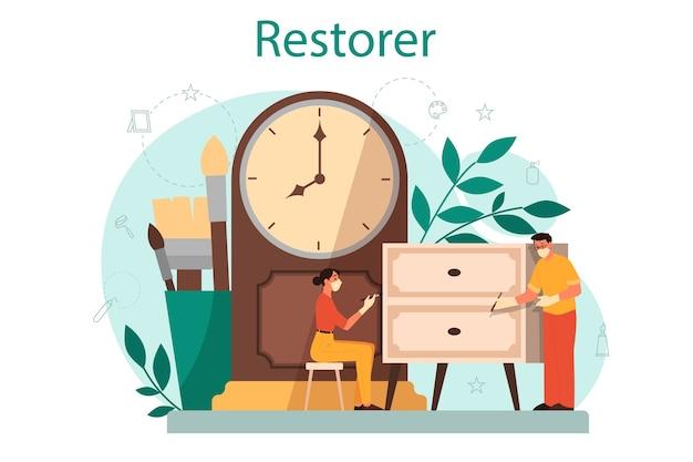 Концепция реставратора. художник реставрирует старинную статую, старую живопись и мебель. человек тщательно ремонтирует старый предмет искусства.