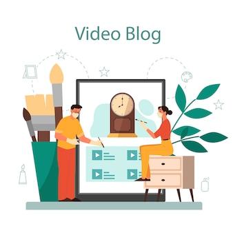 Restorer online service or platform. artist restores an ancient statue, old painting and furniture. online video blog. vector illustration