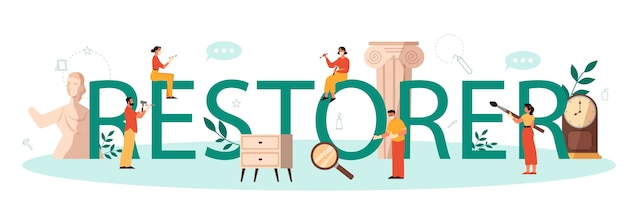 Restorer typographic header concept. artist restores an ancient statue, old painting and furniture. person carefully repair old art object. vector illustration in cartoon style