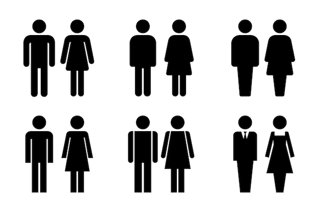 Restroom door pictograms. woman and man public toilet   signs