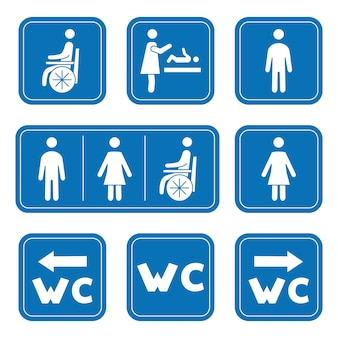 Restroom icons man woman wheelchair person symbol and baby changing male female wc symbol