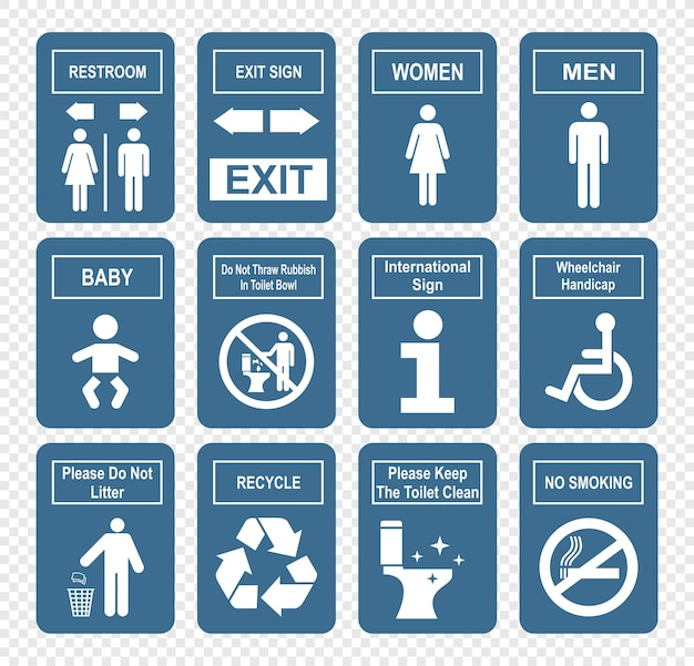 Значки туалета, установленные на плоском стиле