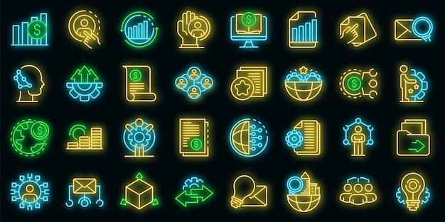 Набор иконок реструктуризации. наброски набор реструктуризации векторных иконок неонового цвета на черном