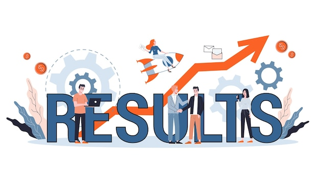 Иллюстрация концепции результата. идея роста, анализа и успеха.