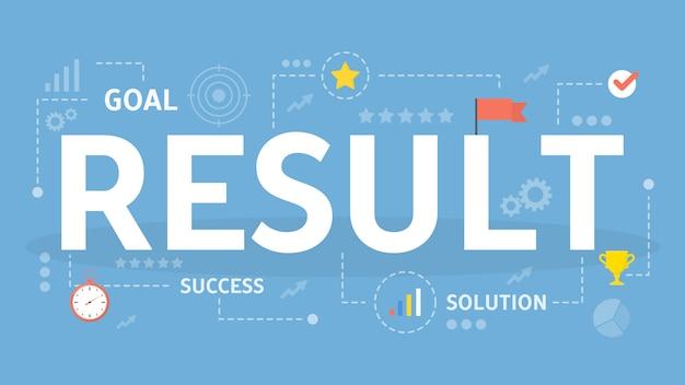 結果の概念図。利益と成功のアイデア。
