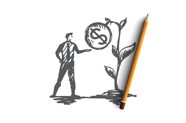結果、お金、植物、利益、収入の概念。手描きのビジネスマンと成長する収入の概念のスケッチ。図。